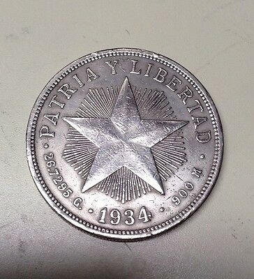 1934 CARRIBEAN  PATRA  Y LIBRTAD  very large silver coin  GOOD DETAIL