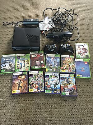 Microsoft Xbox 360 S Matte Black 250 GB Console Kinect 2 Controllers & 11 Games