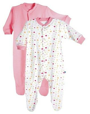 2 PiP Organic Cotton Baby Coveralls  Pink 6-12 months