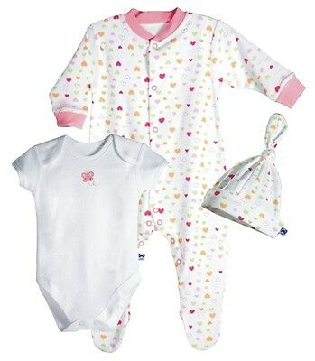 PiP Organic Cotton Baby 1 Coverall + 1 Bodysuit + 1 Cap Pink 3-6 months