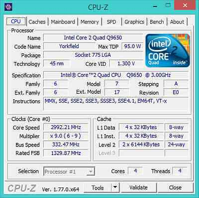 Intel Core 2 Quad Q9650 best cpu for s775