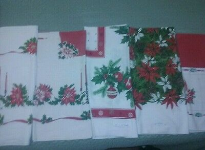 Lot of 5 Vintage Christmas Tablecloths
