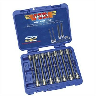 """VIM Tools HXL100 14-Piece 3/8"""" Square Drive SAE Extra Long Hex and Ball Hex"""