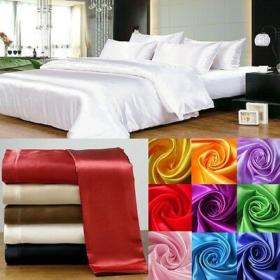 Hotel Bedding 1000Tc Satin Silk 3Pc Duvet Cover Set Solid Choose Size & Color