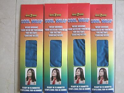 NEW (4) Teal Neck Cooler Bandana Scarf Tie Evaporative Omezone Cold Cool Pack