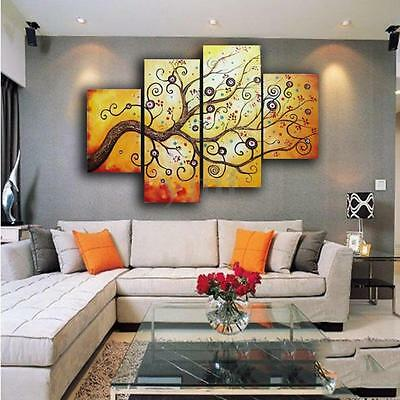 Large Golden Tree Canvas Print Wall Art Painting Picture Home Decor Unframed