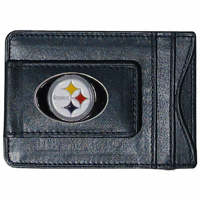 Nfl Pittsburgh Steelers Licensed Cash Card Money Holder, Leather, Free Shipping!