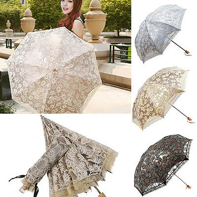 US Sun Anti-UV Parasol Rain Snow Windproof Folding Wedding Bridal Lace Umbrella