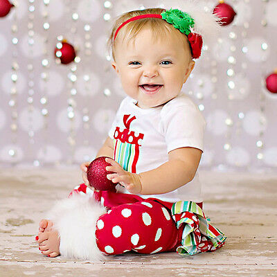 Christmas Child Baby Boys Girls Clothes Romper Bodysuit Warmer Outfits 3PCS*