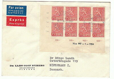 Finland M54 (block of 8 ) with plate no on cover !!!!