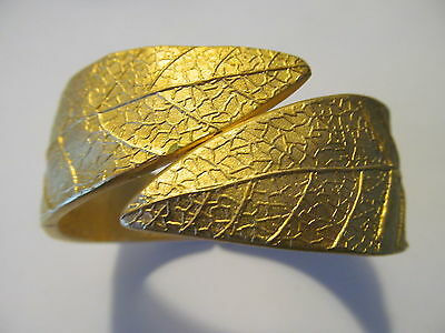 Bold~Heavy & Wide Gold Plated Leaf Clamper By~Pass Style Bangle Bracelet