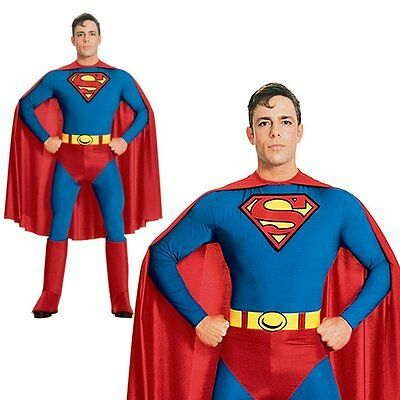 Superman Super Hero Halloween Adult Stag Party Outfit Mens Fancy Dress Costume