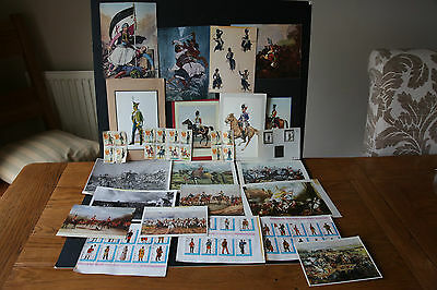 Job Lot Old Vintage Postcards and stamps Military uniforms  45 stamps 18 cards