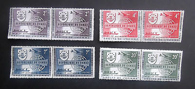 Congo-1963-15th Anniv.UN Human Rights Declaration-Full set of Joined pairs-MNH