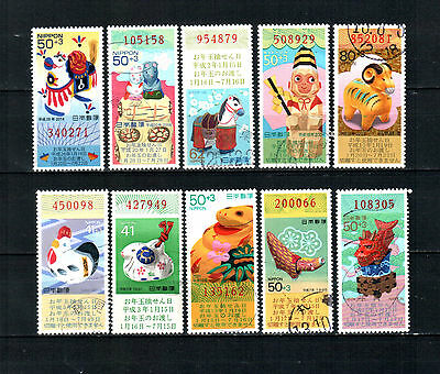 Japan New Year Greetings, used stamps