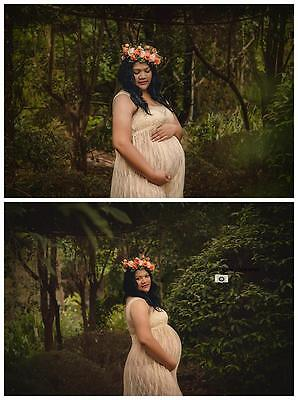 Champagne Colored Lace Maternity Dress Gown - Photography Photo Prop -Size 10-14