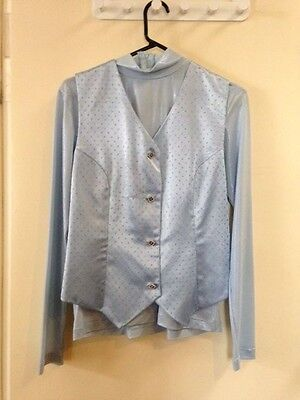 Custom light blue western show top and vest Size 8-10
