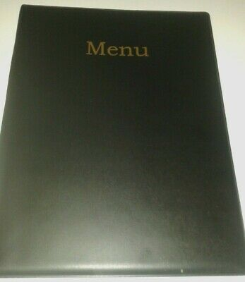 qty 20 - A4 MENU COVER IN BLACK LEATHER LOOK PVC-with pocket page 2 + 3 ONLY