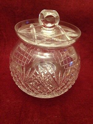 Lovely Crystal Cut Glass Jam/Preserve Pot with Lid
