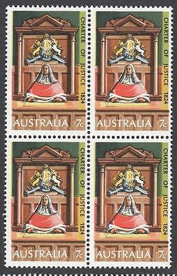 1974 Australia, Charter of Justice 7c block of 4 stamps, MUH