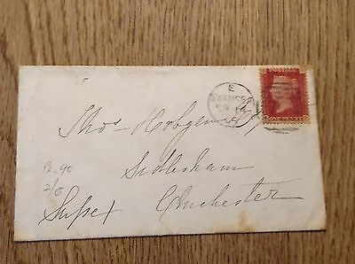 Old letter envelope One Penny Red Stamp Chichester Swansea postmark