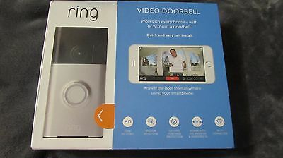 Ring - Wi-Fi Smart Video Doorbell - Silver NEW Free Shipping