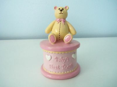 "Adorable ""Baby's First Tooth"" Teddy Bear Trinket Box  Pink Yellow White"