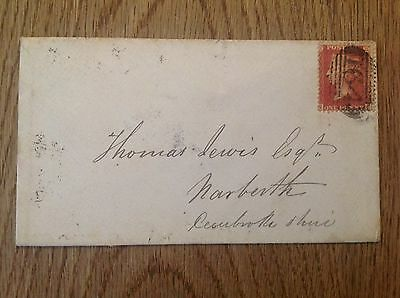 Old envelope letter with Red One Penny stamp Narberth Cardigan postmark 1861