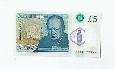 NEW £5 plastic bank note AA22 450009