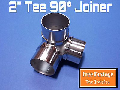 """TEE 90° JOINER 316 STAINLESS STEEL TUBE CONNECTOR 50.8mm FITTING 2"""" HANDRAIL"""