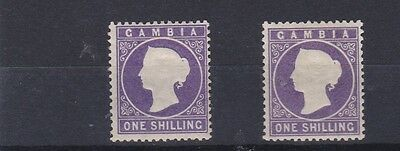 Gambia   1886 - 93   S G  35 - 36  One  Shilling X Two Values  M H