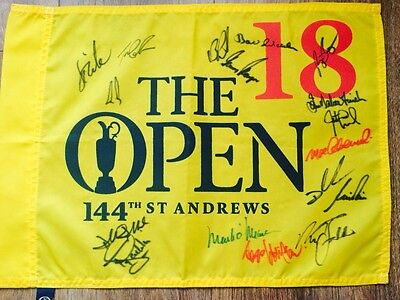 The Open Golf Championship Pin Flag St Andrews 2015 Signed By 17 Open Winners !!