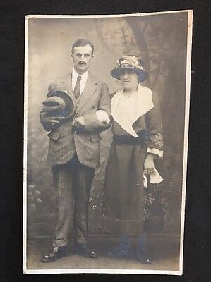 Vintage Postcard - RP Anonymous People - Couple #23 - 1923