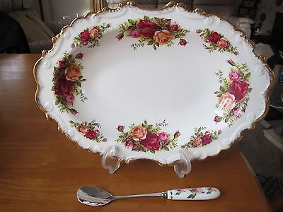 Royal Albert Old Country Roses Rare Frilled Oval Dish/floral Spoon 1St