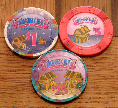 $1 $5 & $25 Kenner LA Treasure Chest Casino Chips Set (3) Louisiana Used