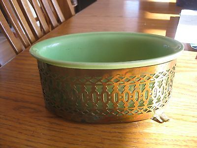 Vintage Wilhite of California #5205 oval green dish with brass holder
