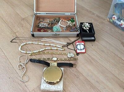 costume jewellery including powder compact, watches and case