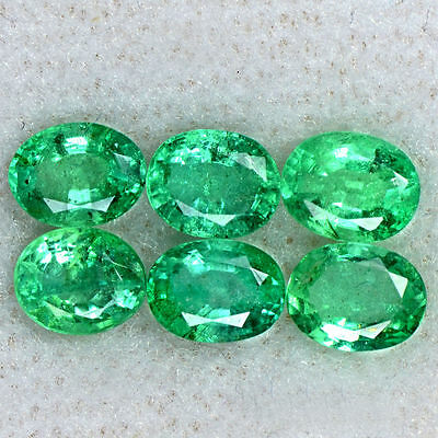 2.09 Cts Natural Top Green Emerald Oval Cut Lot Untreated Zambia 5x4 mm Gems $