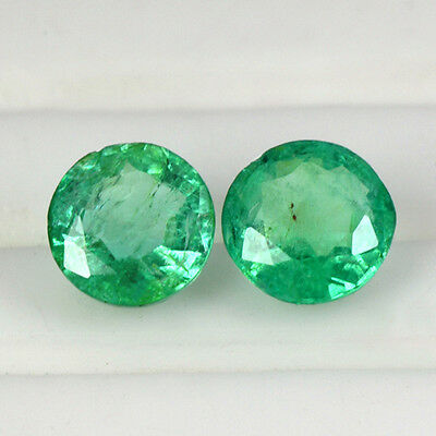 0.72 Cts Natural Top Green Emerald Round Cut Pair Gemstone Untreated Zambia Best