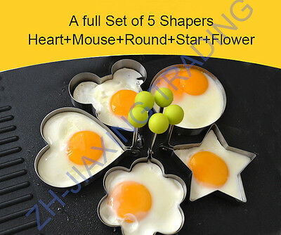 5 pcs/set  Fried Egg Shaper Mould- Kitchen Cooking Stainless Steel Tools Gadgets