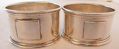 Boxed Pair Hallmarked Solid Silver Napkin Rings Cester 1903 J&W Deakin