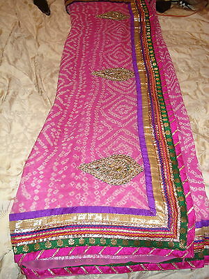 Pink Chiffon Indian Saree From Ahemedabad With Contrasting Border