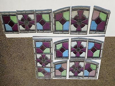 15 vintage stained glass lead panels
