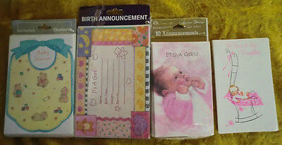 Vintage 40 Baby Card Annoucements & Shower It's A Girl Cards New Old Stock