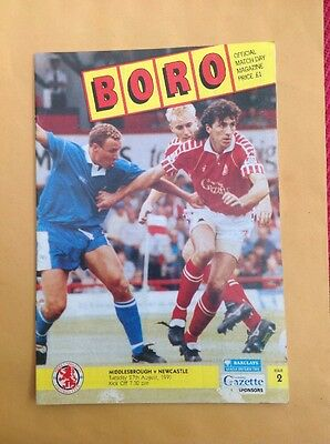 Middlesbrough v Newcastle football programme, 27 August 1991