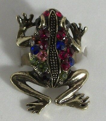 Pink Red Blue Yellow Purple Crystal Gold Plated Frog Ring Size 6 1/2 - 7