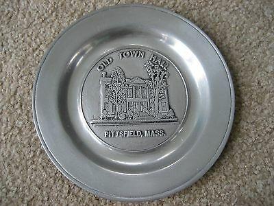 Pittsfield Massachustts Old Town Hall Pewter Plate Hallmarked FREE SHIPPING!