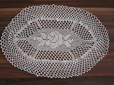 Hand Crochet Lace Tablecloth Oval White Floral