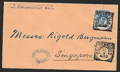 Netherlands Indies covers 1903 NVPH 32 cover Weltevreden to Singapore