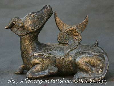 """5"""" Old Chinese Feng Shui Bronze 12 Zodiac Year Bull Oxen Moon Statue Sculpture"""